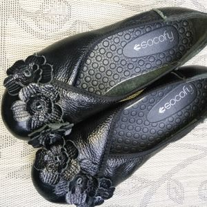 Socofy heel shoes floral black leather size 6